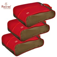 Saccus Green & Red Shoes Bag Pack Of 3 Red, Green