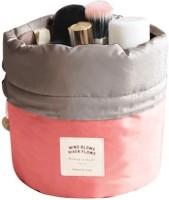 Nimble House (17X23CM)Travel Dresser Pouch Peach Color Polyster Faux Leather Mesh Cosmetics Bag Peach