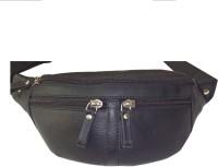 Kan 98 Black Genuine Leather Travel Waist Bag For Men And Women Black