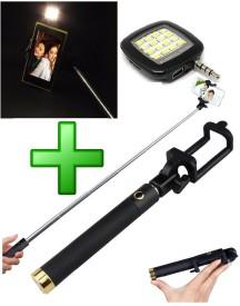 RoQ Bluetooth Selfie stick with Flash light Monopod Kit