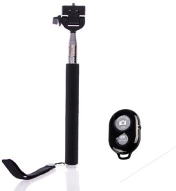 Smiledrive Extendable With Bluetooth Remote Shutter Clicker - Universal Mobile Holder Attachment Included Monopod - Black, Supports Up To 3000 G