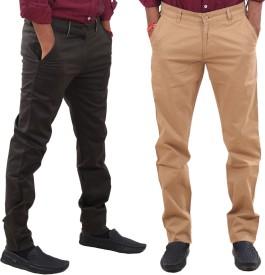 IndiWeaves Regular Fit Men's Beige, Black Trousers