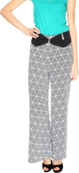 Fashion205 Black And White Printed American Crepe Palazzo Regular Fit Women's Trousers - TROE53GUGZFGY6FV