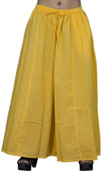 Chhipaprints 100% Cotton Full Length Plain Yellow Plazzo Regular Fit Women's Trousers