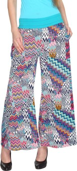 Fashion205 Casual White And Blue Printed European Crepe Palazzo Regular Fit Women's Trousers - TROE7733H9DHR5VN