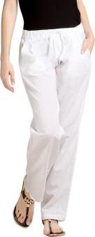 Loco En Cabeza Regular Fit Women's Linen White Trousers