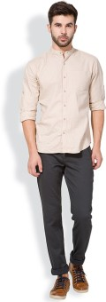 The Indian Garage Co. Slim Fit Men's Grey Trousers