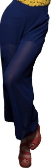 Cloe Chic Lined Gorgette Palazzo In Navy Regular Fit Women's Trousers