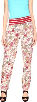 Fashion205 Green And Maroon Printed Crepe Regular Fit Women's Trousers