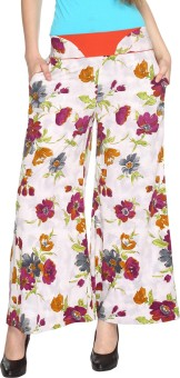 Fashion205 Casual White And Purple Printed European Crepe Palazzo Regular Fit Women's Trousers