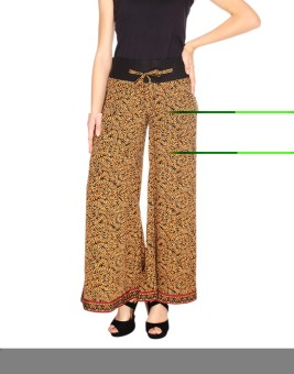 Fashion205 Beige And Black American Crepe Palazzo Regular Fit Women's Trousers
