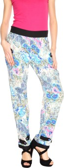 Fashion205 Blue Printed Cotton Satin Regular Fit Women's Trousers