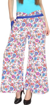 Fashion205 Casual White And Blue Printed American Crepe Palazzo Regular Fit Women's Trousers