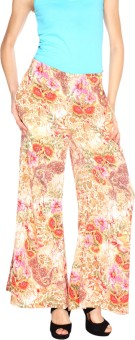 Fashion205 Pink And Yellow European Crepe Palazzo Regular Fit Women's Trousers