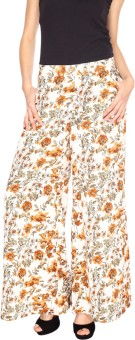 Fashion205 White And Beige Printed Crepe Palazzo Regular Fit Women's Trousers