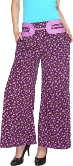 Fashion205 Casual Purple Printed American Crepe Palazzo Regular Fit Women's Trousers