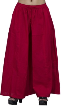Chhipaprints 100% Cotton Full Length Plain Red Plazzo Regular Fit Women's Trousers