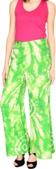 Fashion205 Green And White Printed Cotton Satin Palazzo Regular Fit Women's Trousers