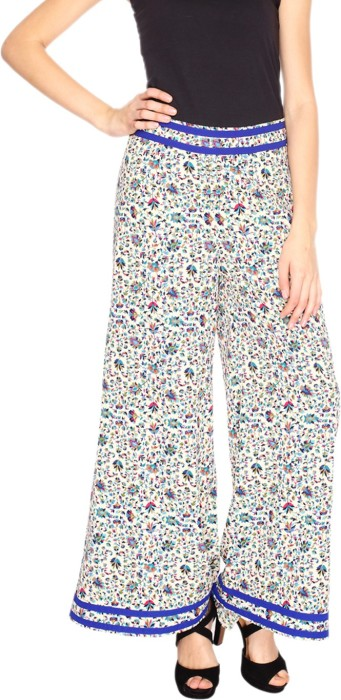 Fashion205 Blue And Pink Printed American Crepe Palazzo Regular Fit Women's Trousers