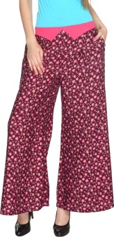 Fashion205 Casual Maroon Printed American Crepe Palazzo Regular Fit Women's Trousers