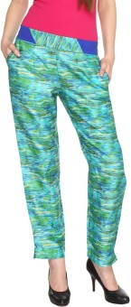 Fashion205 Green And Blue Printed Cotton Satin Regular Fit Women's Trousers