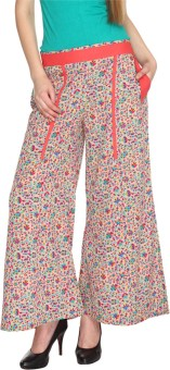 Fashion205 Casual Beige And Pink Printed American Crepe Palazzo Regular Fit Women's Trousers