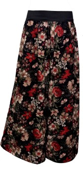 Shopingfever Black Floral Print Regular Fit Women's Trousers