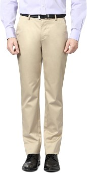 Peter England Slim Fit Men's Beige Trousers