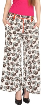 Fashion205 Casual White And Brown Printed American Crepe Palazzo Regular Fit Women's Trousers