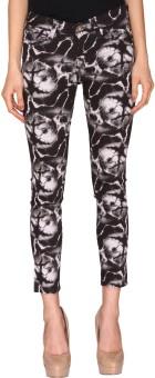 Azores Tie & Die Black Slim Fit Women's Trousers