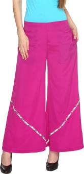 Fashion205 Casual Pink European Crepe Palazzo Regular Fit Women's Trousers