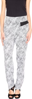 Fashion205 Black And White Printed Crepe Regular Fit Women's Trousers
