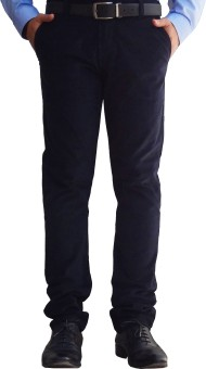 Ben Carter Blue Corduroy Slim Fit Men's Trousers