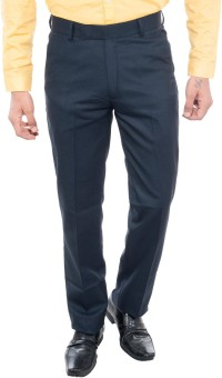 Grey Booze Slim Fit Men's Dark Blue Trousers