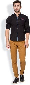 The Indian Garage Co. Slim Fit Men's Brown Trousers