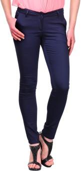 Yepme Blue Slim Fit Women's Trousers