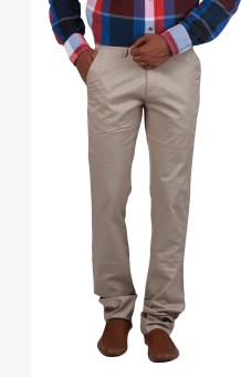 Cotton Colors Slim Fit Men's Beige Trousers