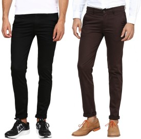 Inspire Pack Of Black & Brown Slim Fit Men's Trousers