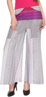 Fashion205 Casual Black And White Printed Cotton Palazzo Regular Fit Women's Trousers - TROE77333RK2JEGZ