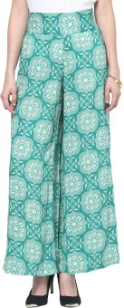 Thegudlook Green Print Modal Palazzo Pant Regular Fit Women's Trousers