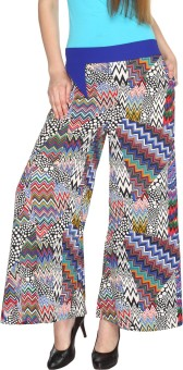Fashion205 Casual White And Blue Printed European Crepe Palazzo Regular Fit Women's Trousers