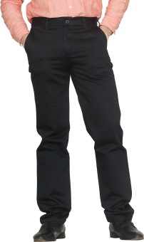 Canoe Black Satin Cotton Regular Fit Men's Trousers