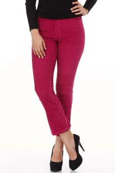Mustard Dark Pink Regular Fit Women's Trousers
