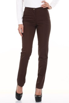 Mustard Chocolate Brown Cotton Lycra Regular Fit Women's Trousers