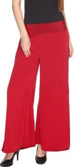 Fashion205 Casual Maroon European Crepe Palazzo Regular Fit Women's Trousers