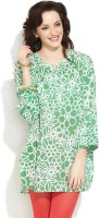 Victor Brown Casual Roll-up Sleeve Floral Print Women's Kurti