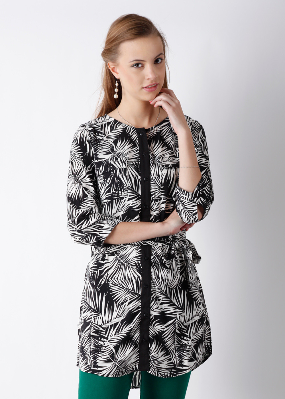 Buy Femella Front Ruffle Top For Women: Buy Femella Printed Women's Tunic @ ₹ 990 By Femella From