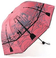 Nimble House Compact For Easy Carrying Ultralight Folding Sun/Rain Umbrella UV Protected UV-Blocker Parasol Anti-UV Contrast Color Lining Vented Windproof Canopy Women Home Ladies Folding Foldable Titanium Travel Umbrella (Pink)