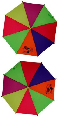Rainy Children Fold Multi (5-10 Yrs) - Pack Of 2 Umbrella