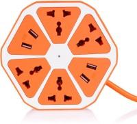 Transformer Socket-4x Hexagon Power Socket Extension USB Charger (Orange)